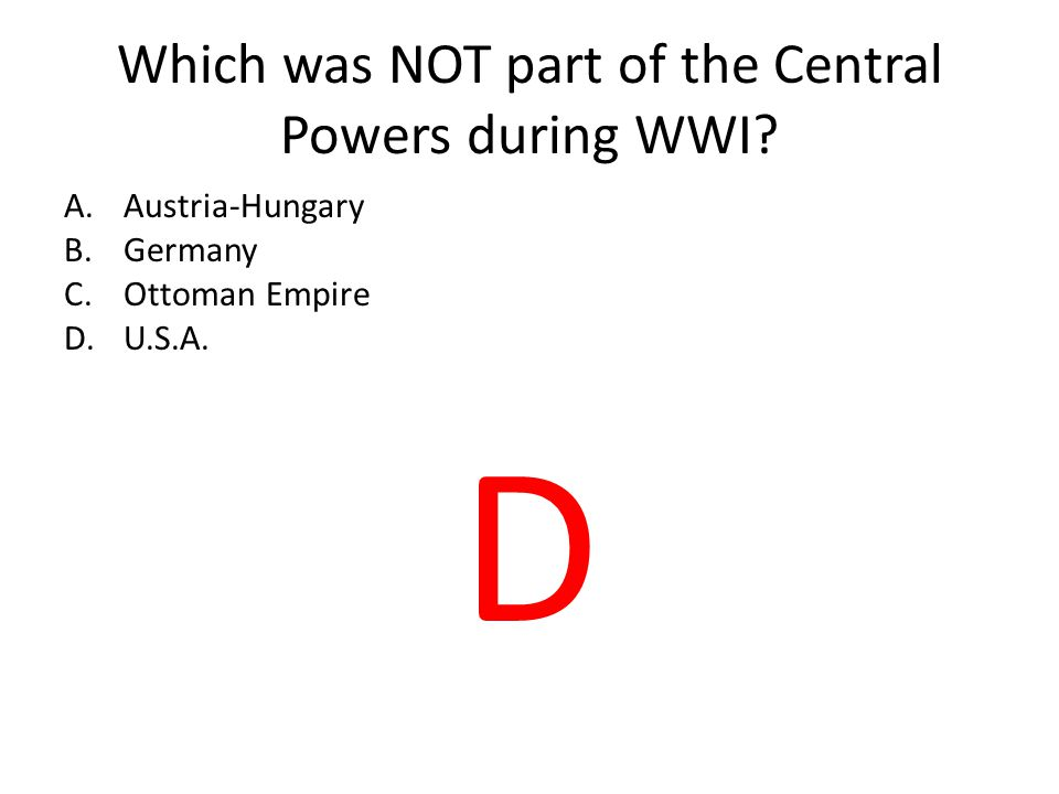 Which was NOT part of the Central Powers during WWI.