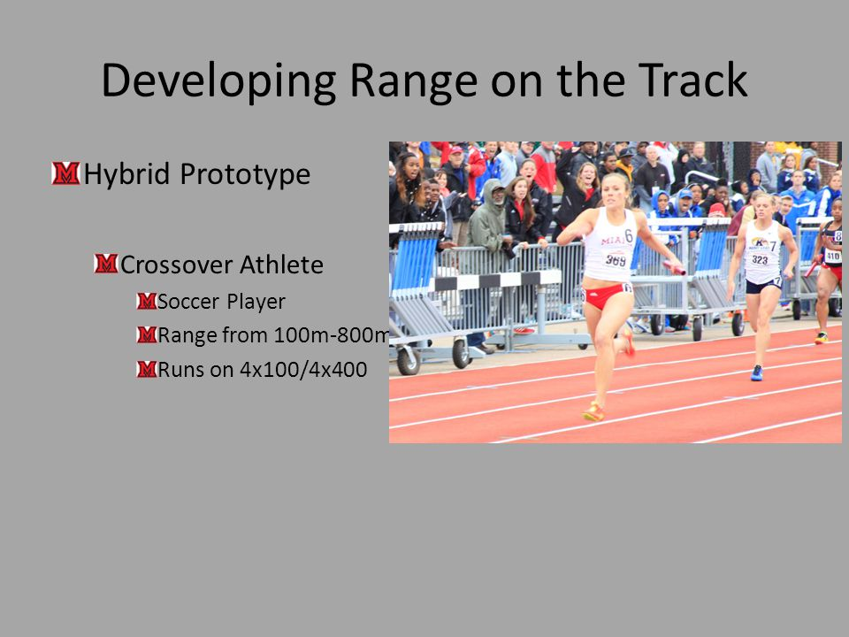 Developing Range on the Track Hybrid Prototype Crossover Athlete Soccer Player Range from 100m-800m Runs on 4x100/4x400