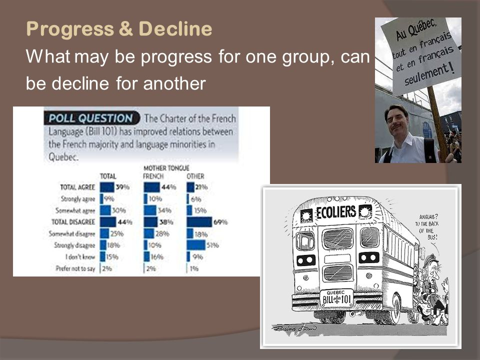 Progress & Decline What may be progress for one group, can be decline for another