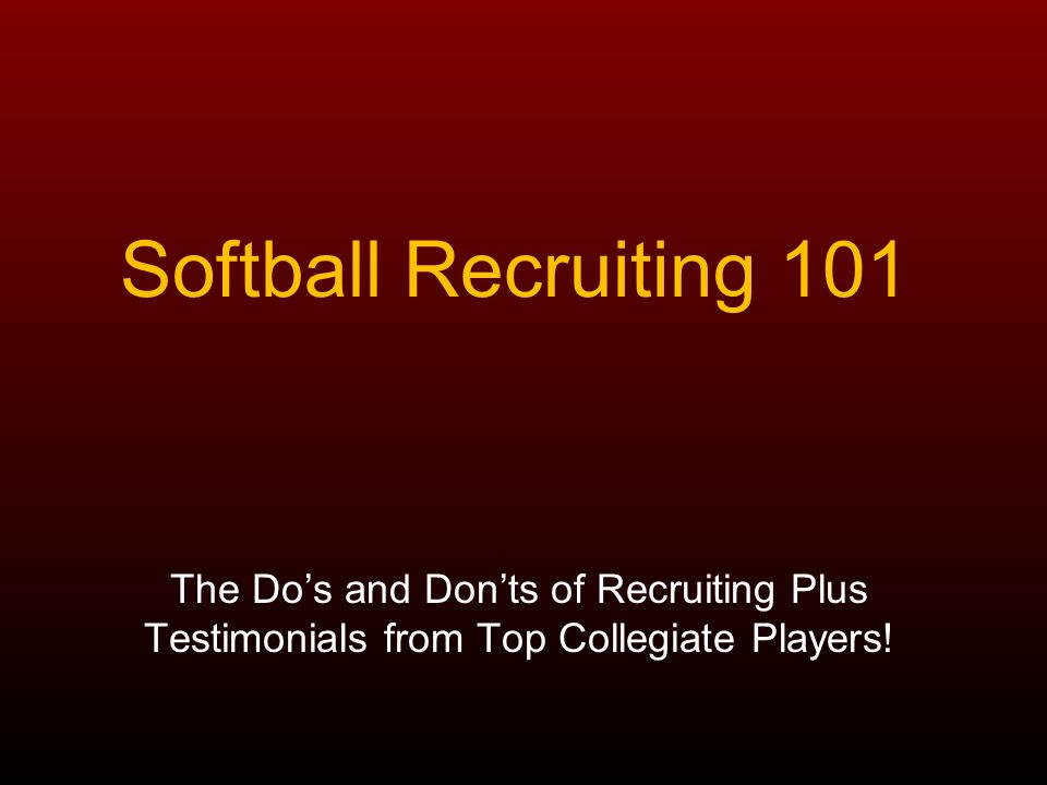 Introduction Every softball player reaches a point where they must decide if they want to continue playing in college.