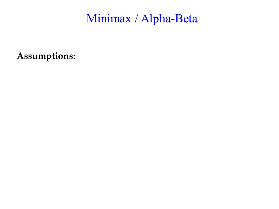 Minimax / Alpha-Beta Assumptions: