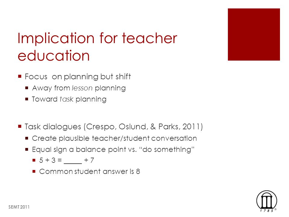 Implication for teacher education Focus on planning but shift Away from lesson planning Toward task planning Task dialogues (Crespo, Oslund, & Parks, 2011) Create plausible teacher/student conversation Equal sign a balance point vs.