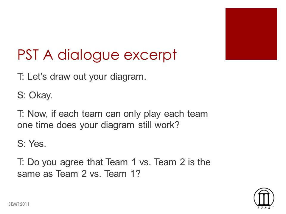 PST A dialogue excerpt T: Lets draw out your diagram.