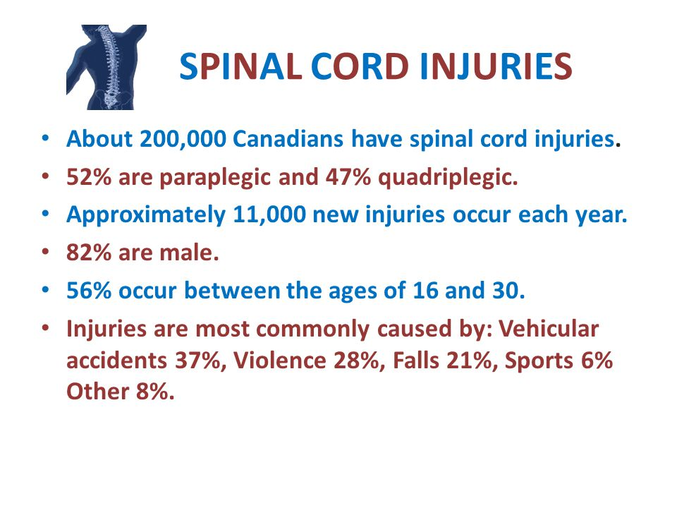 SPINAL CORD INJURIES About 200,000 Canadians have spinal cord injuries.
