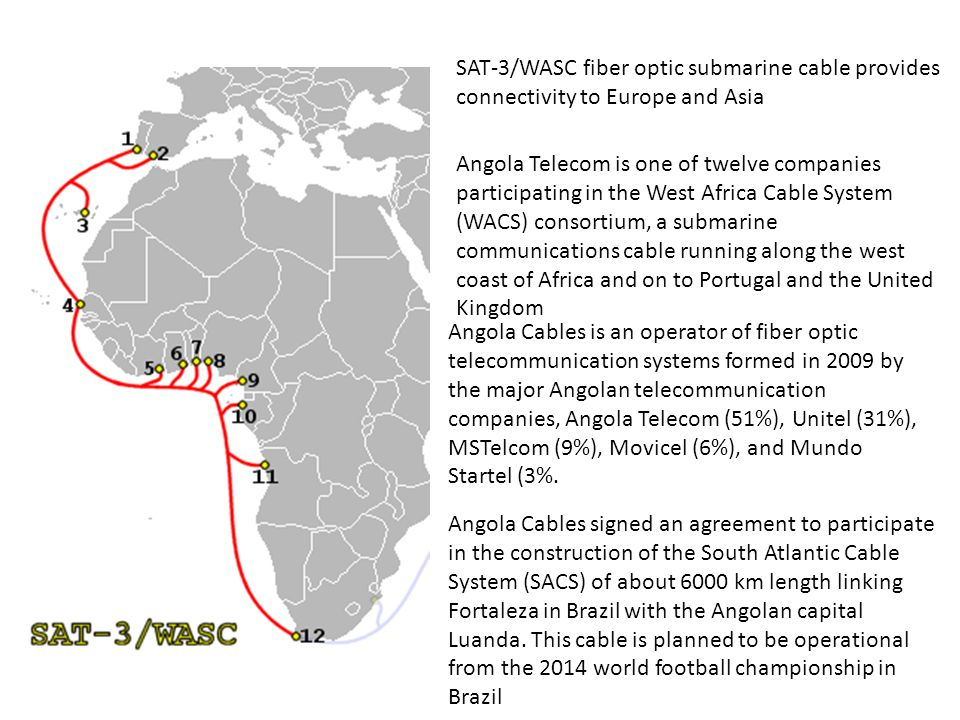 SAT-3/WASC fiber optic submarine cable provides connectivity to Europe and Asia Angola Telecom is one of twelve companies participating in the West Af