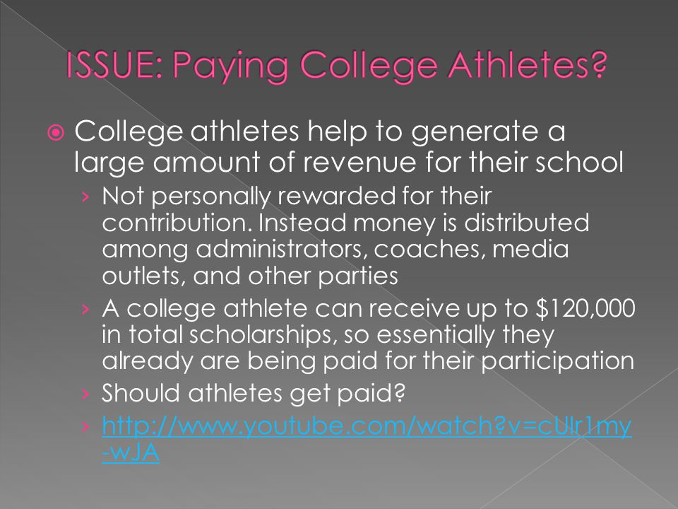 College athletes help to generate a large amount of revenue for their school Not personally rewarded for their contribution.