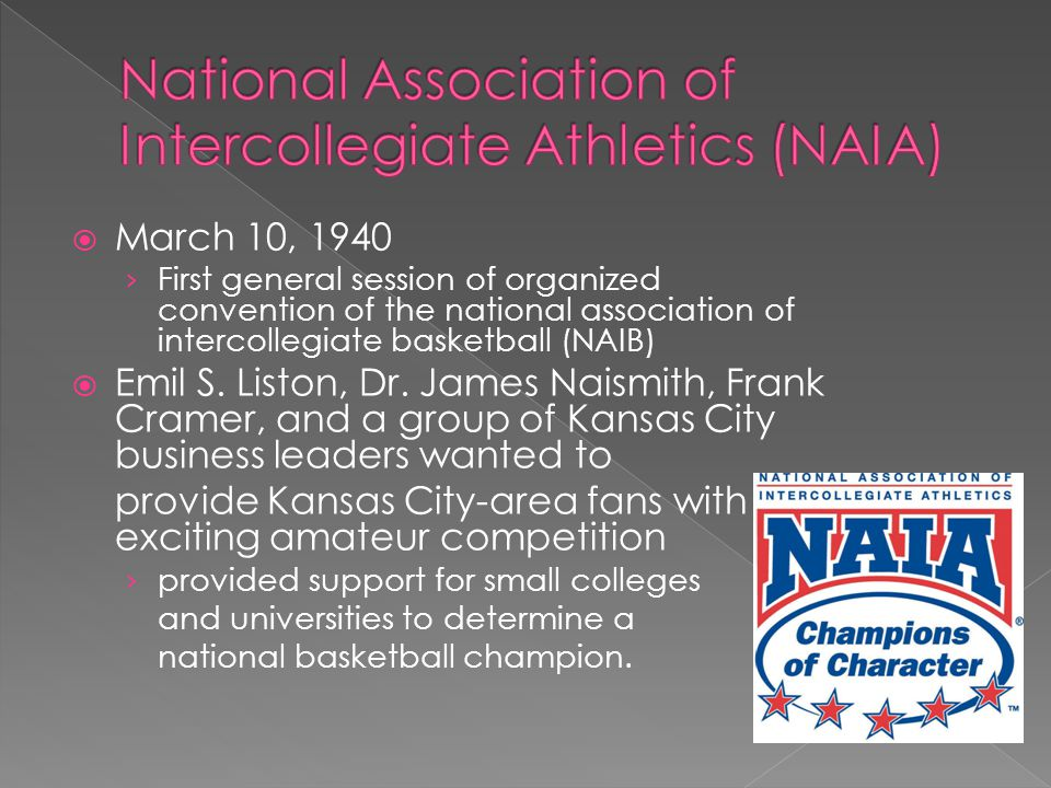 March 10, 1940 First general session of organized convention of the national association of intercollegiate basketball (NAIB) Emil S.