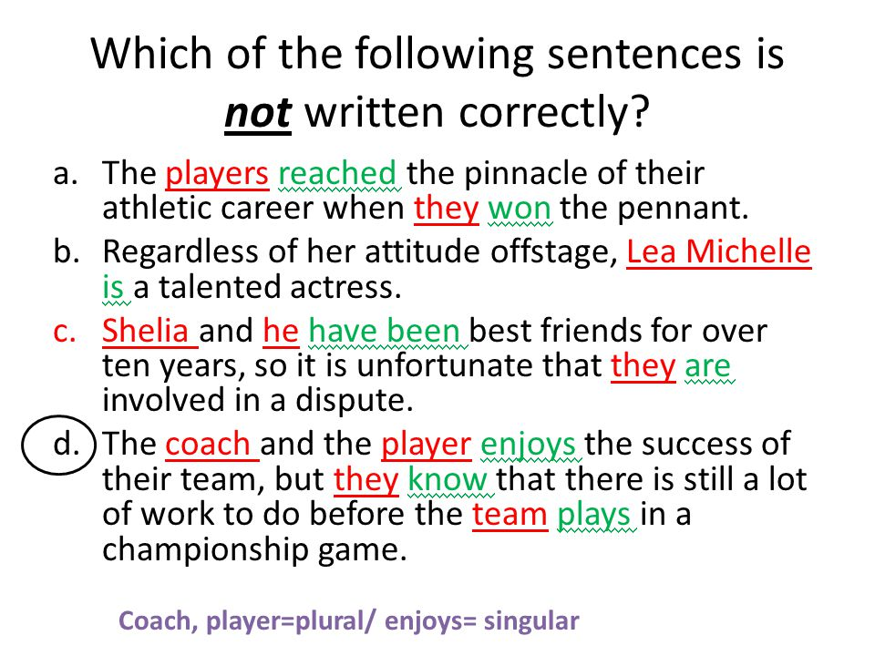Which of the following sentences is not written correctly.