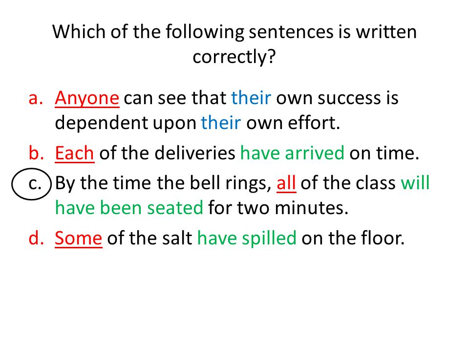 Which of the following sentences is written correctly? a.Anyone can see that their own success is dependent upon their own effort. b.Each of the deliv