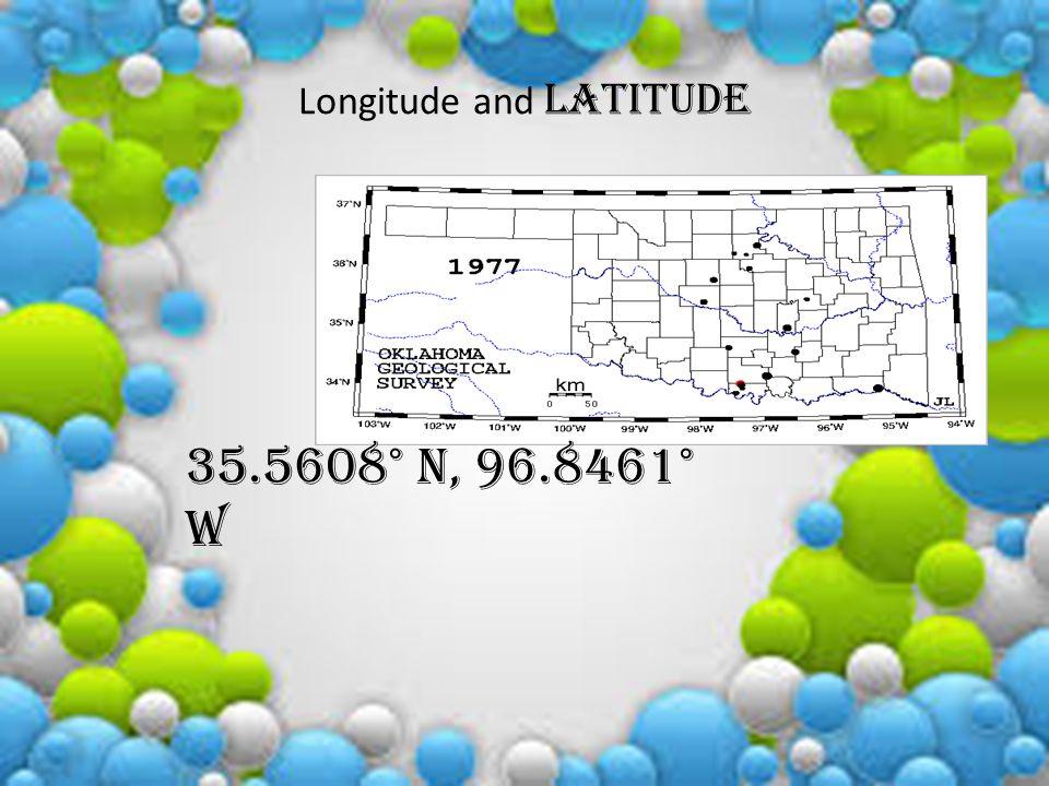 Longitude and latitude 35.5608° N, 96.8461° W