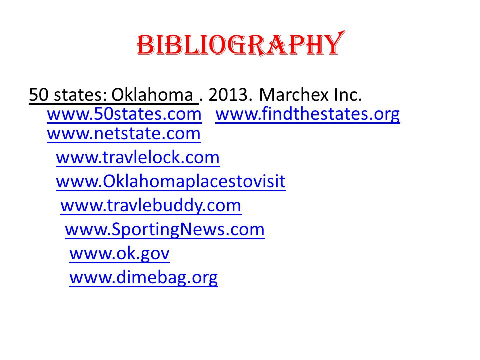 Bibliography 50 states: Oklahoma. 2013. Marchex Inc.