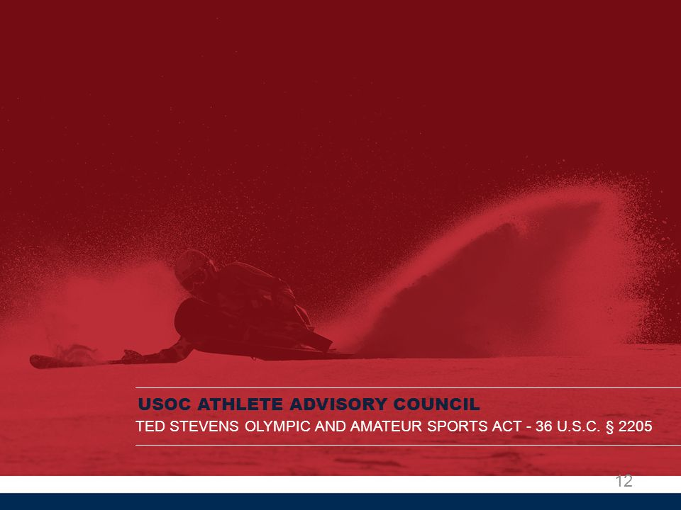 USOC ATHLETE ADVISORY COUNCIL TED STEVENS OLYMPIC AND AMATEUR SPORTS ACT - 36 U.S.C. § 2205 12