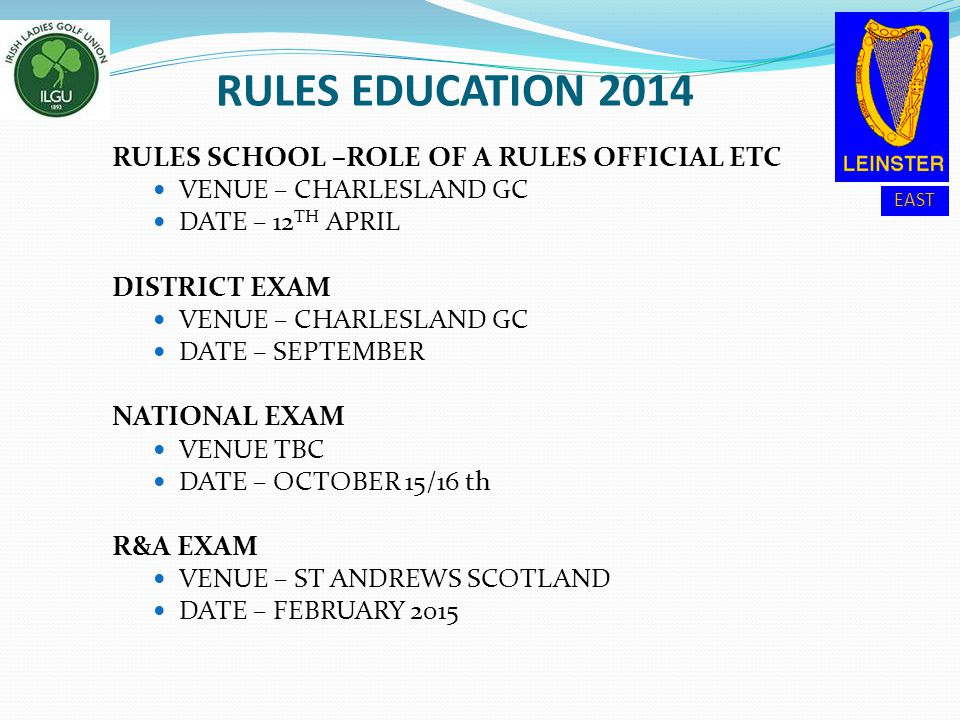 EAST RULES EDUCATION 2014 RULES SCHOOL –ROLE OF A RULES OFFICIAL ETC VENUE – CHARLESLAND GC DATE – 12 TH APRIL DISTRICT EXAM VENUE – CHARLESLAND GC DA