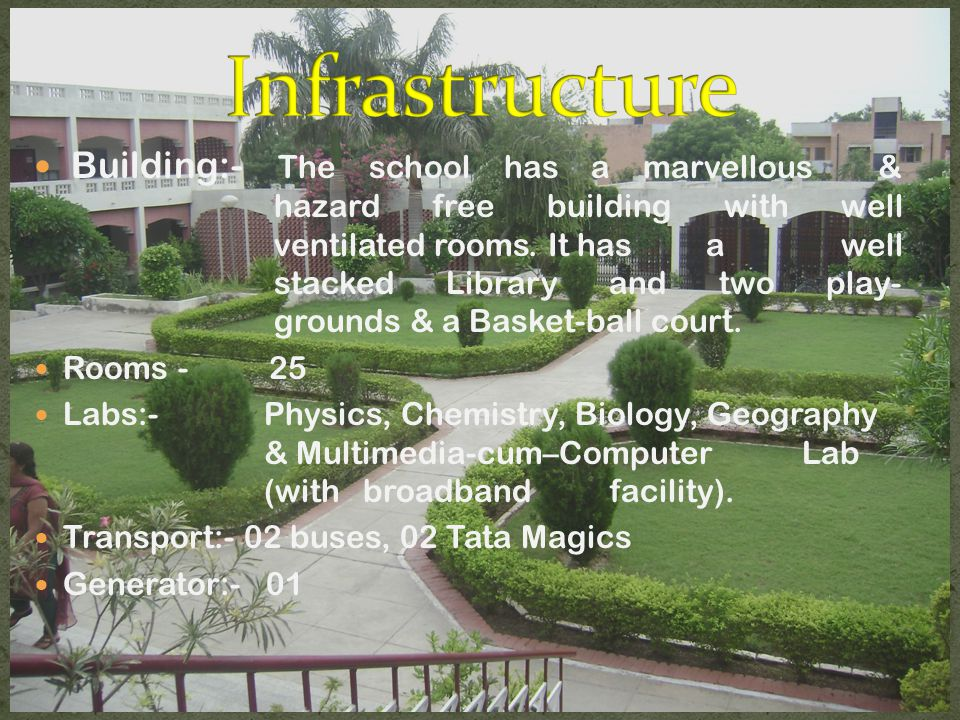 Building:- The school has a marvellous & hazard free building with well ventilated rooms.