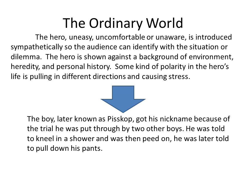 The Ordinary World The hero, uneasy, uncomfortable or unaware, is introduced sympathetically so the audience can identify with the situation or dilemm