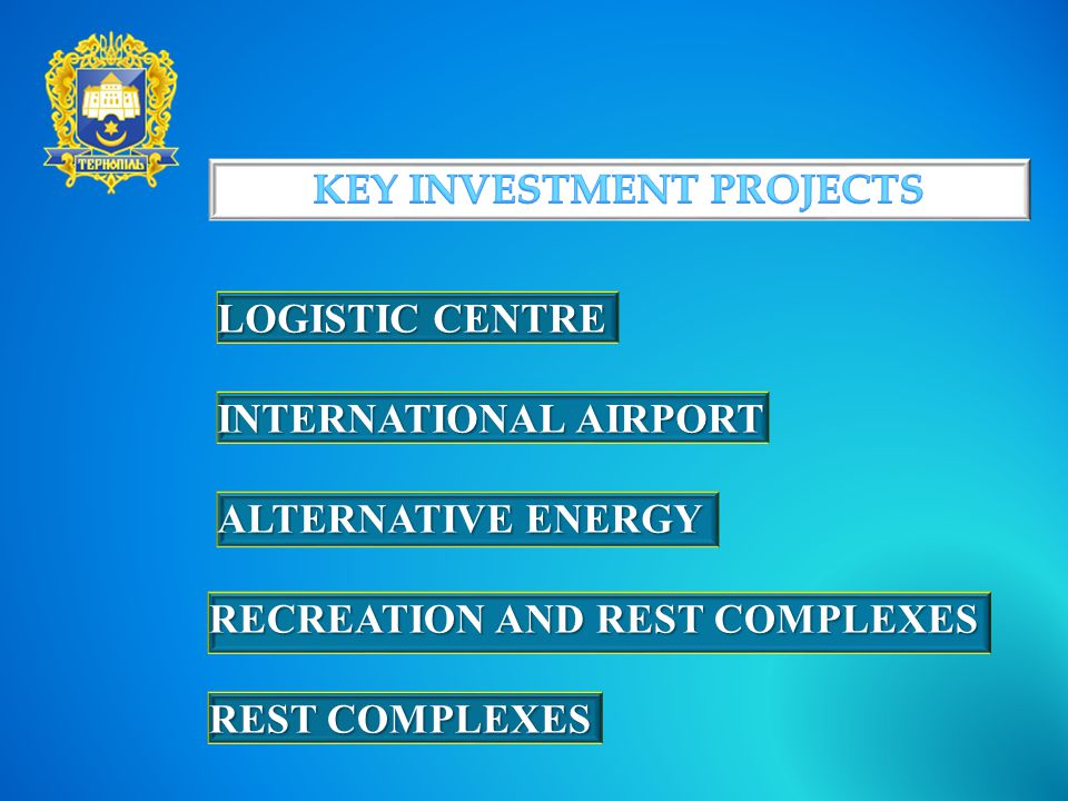 LOGISTIC CENTRE INTERNATIONAL AIRPORT ALTERNATIVE ENERGY RECREATION AND REST COMPLEXES REST COMPLEXES