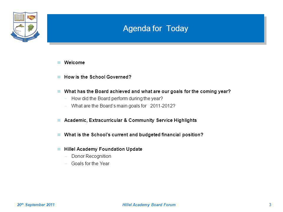 Hillel Academy Board Forum3 Agenda for Today Welcome How is the School Governed.
