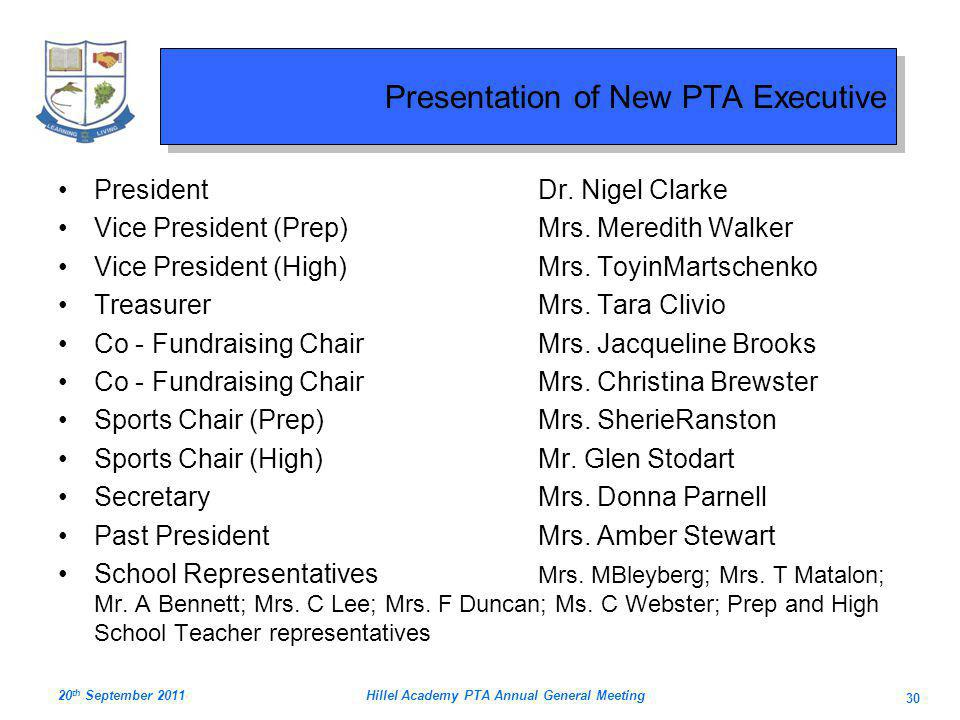 Presentation of New PTA Executive PresidentDr.Nigel Clarke Vice President (Prep)Mrs.