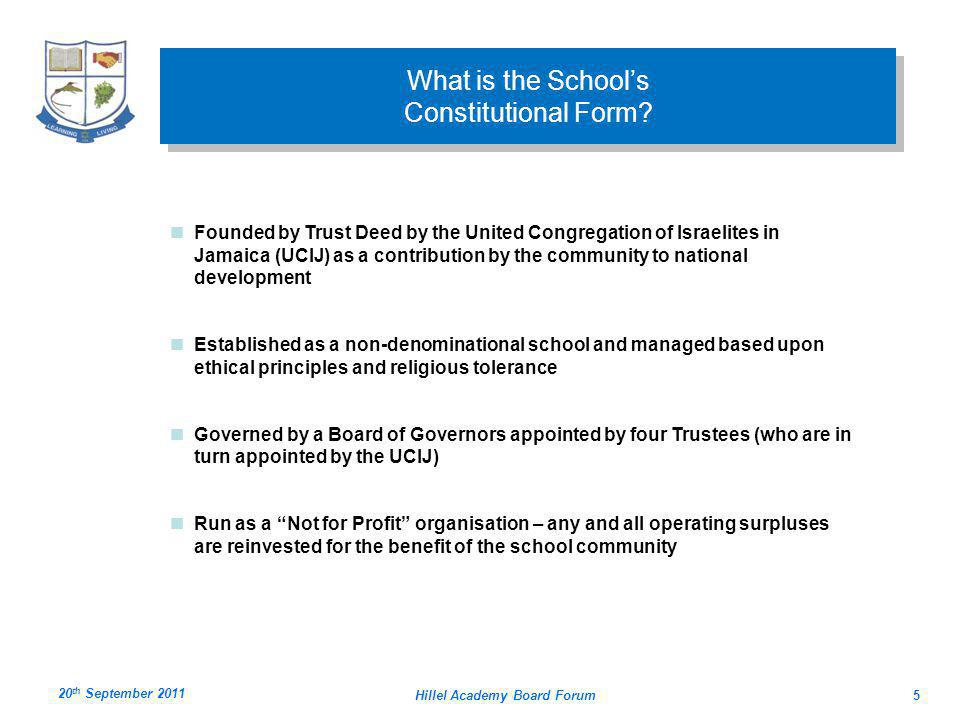 Hillel Academy Board Forum5 What is the Schools Constitutional Form.