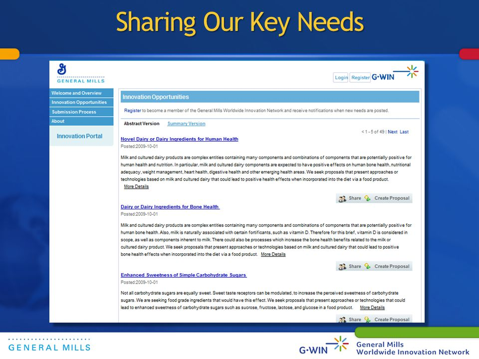 Sharing Our Key Needs