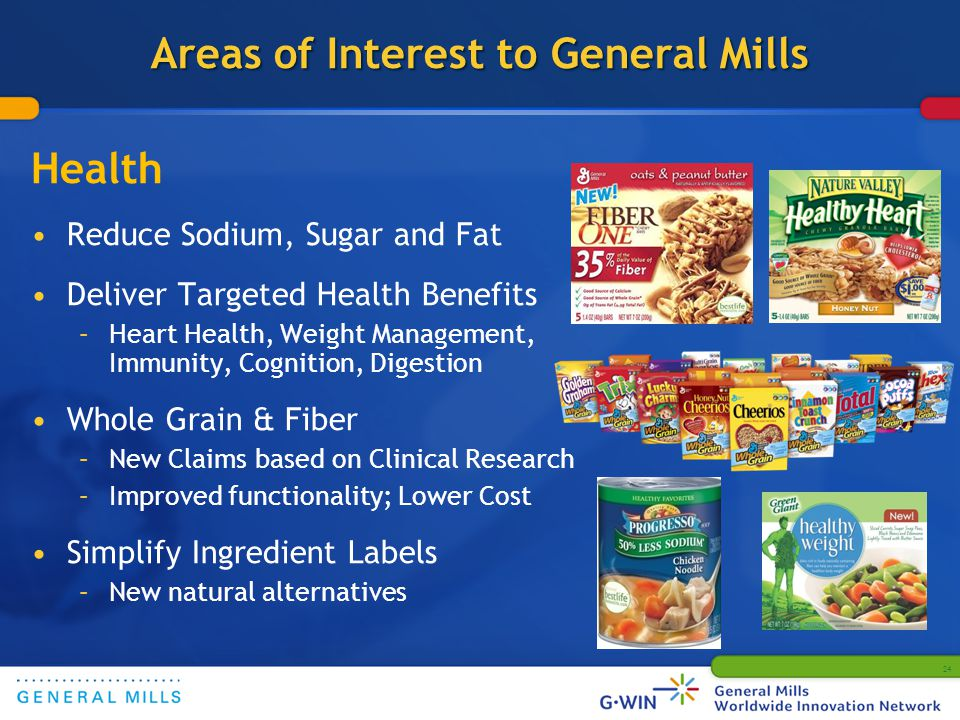 24 Areas of Interest to General Mills Health Reduce Sodium, Sugar and Fat Deliver Targeted Health Benefits –Heart Health, Weight Management, Immunity, Cognition, Digestion Whole Grain & Fiber –New Claims based on Clinical Research –Improved functionality; Lower Cost Simplify Ingredient Labels –New natural alternatives