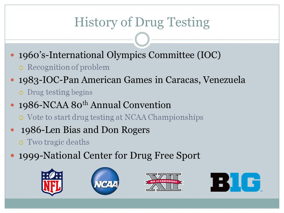 History of Drug Testing 1960s-International Olympics Committee (IOC) Recognition of problem 1983-IOC-Pan American Games in Caracas, Venezuela Drug tes