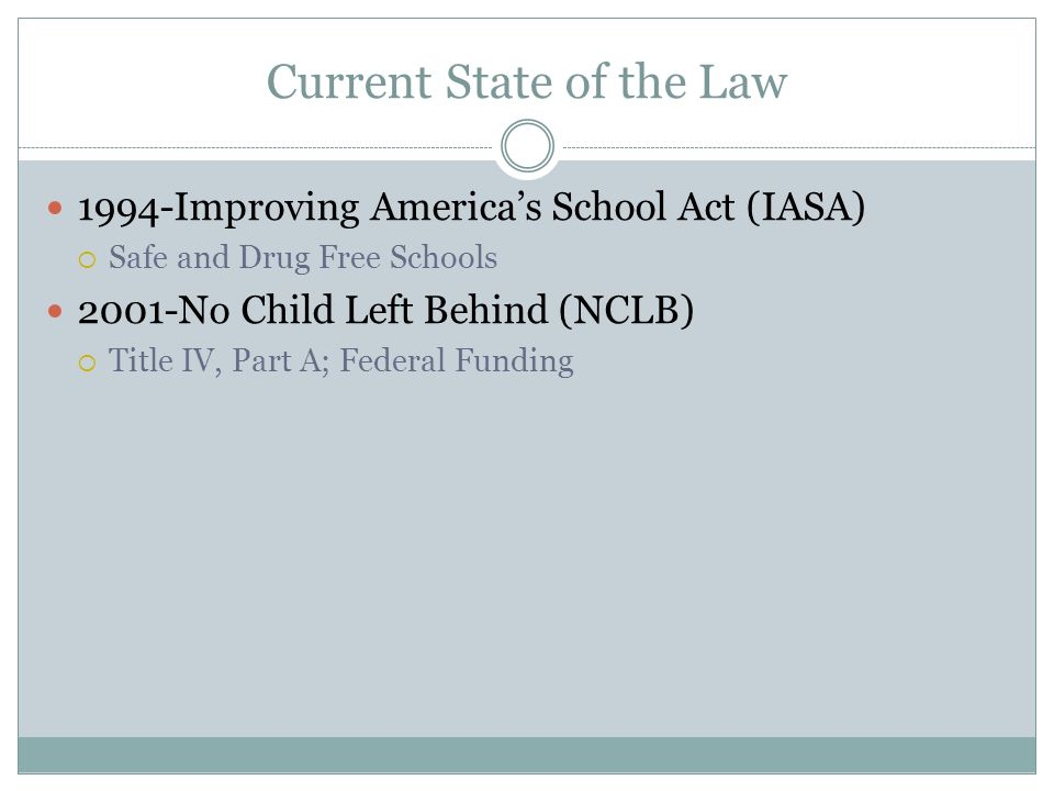 Current State of the Law 1994-Improving Americas School Act (IASA) Safe and Drug Free Schools 2001-No Child Left Behind (NCLB) Title IV, Part A; Federal Funding