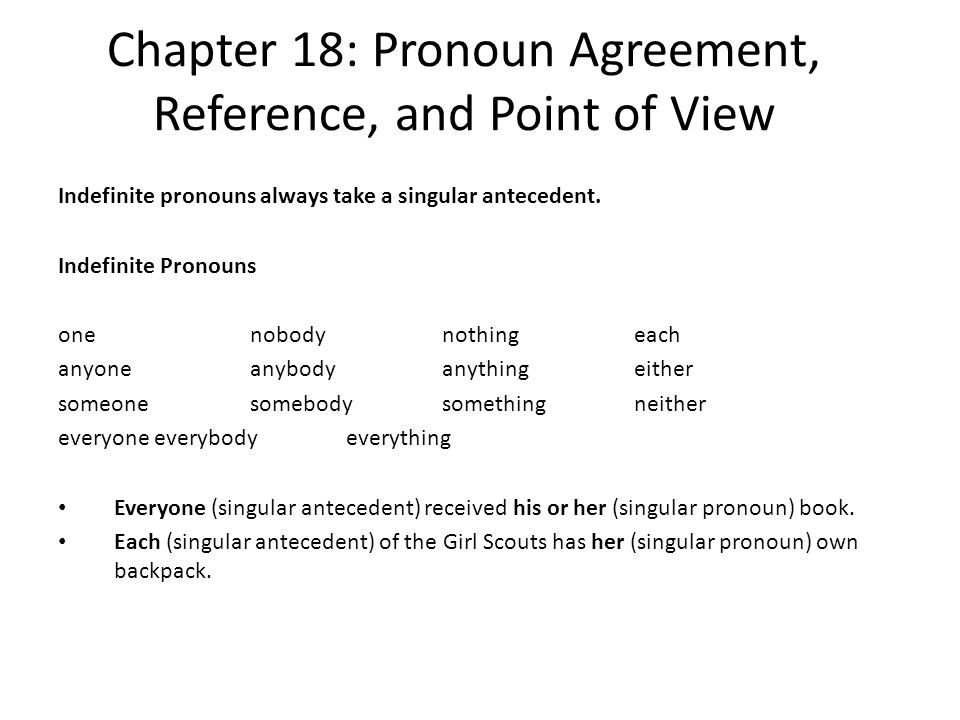 Chapter 18: Pronoun Agreement, Reference, and Point of View Indefinite pronouns always take a singular antecedent. Indefinite Pronouns onenobodynothin