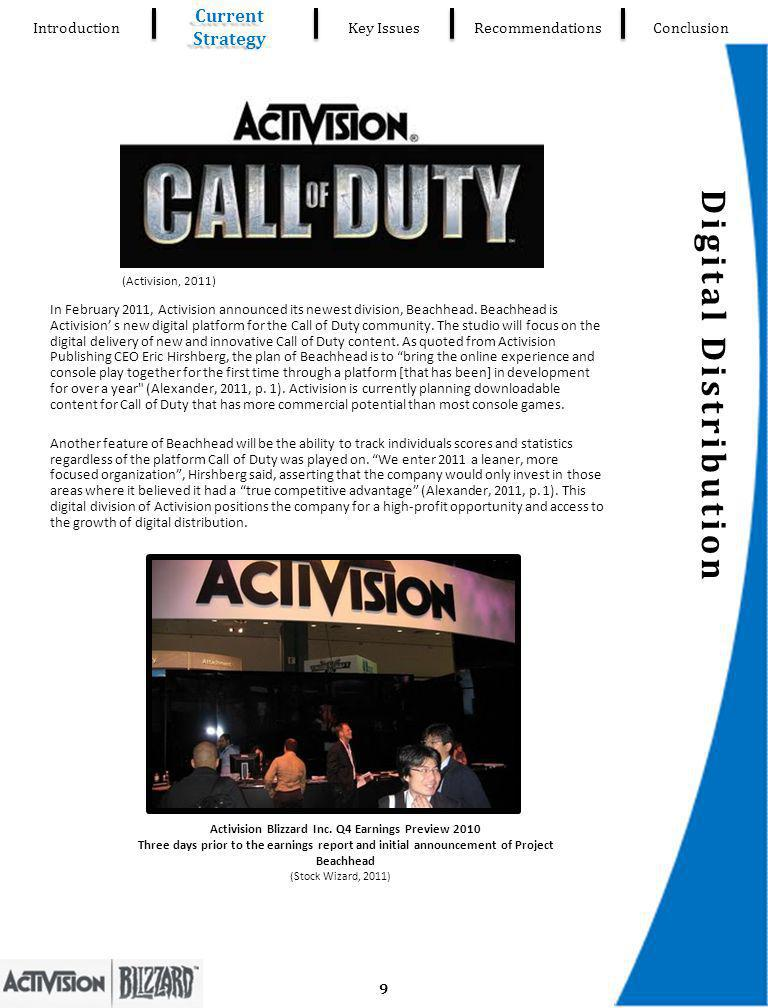 Digital Distribution Introduction Current Strategy Key IssuesRecommendationsConclusion In February 2011, Activision announced its newest division, Beachhead.