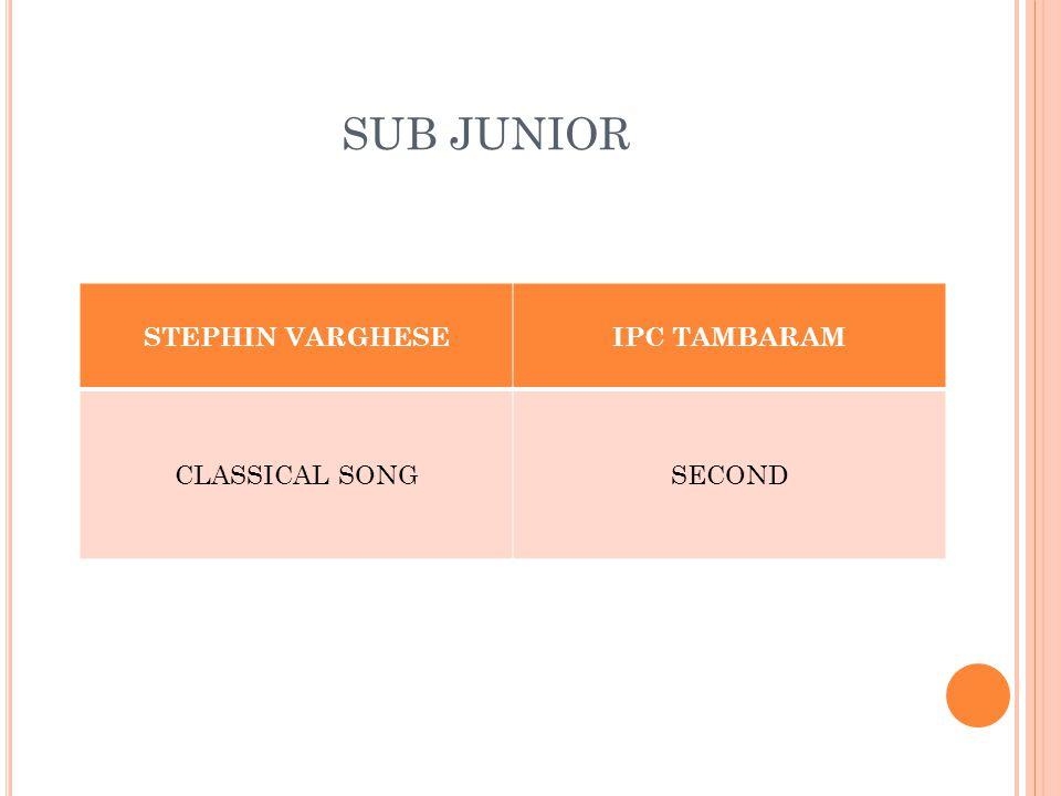 SUB JUNIOR STEPHIN VARGHESEIPC TAMBARAM CLASSICAL SONGSECOND