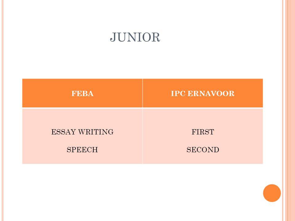 JUNIOR FEBAIPC ERNAVOOR ESSAY WRITING SPEECH FIRST SECOND