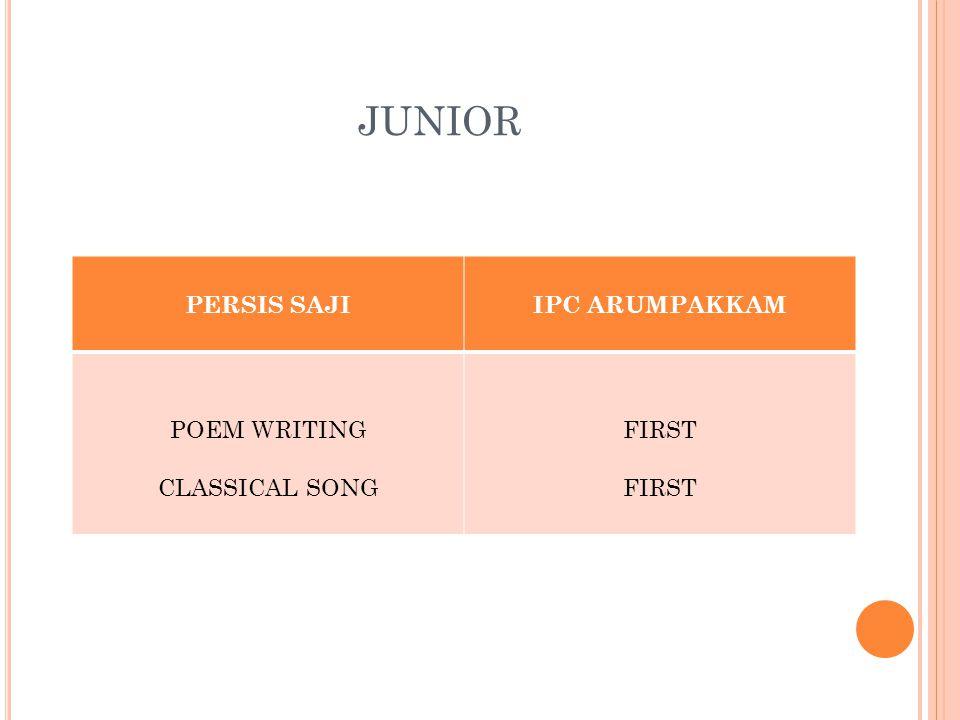 JUNIOR PERSIS SAJIIPC ARUMPAKKAM POEM WRITING CLASSICAL SONG FIRST