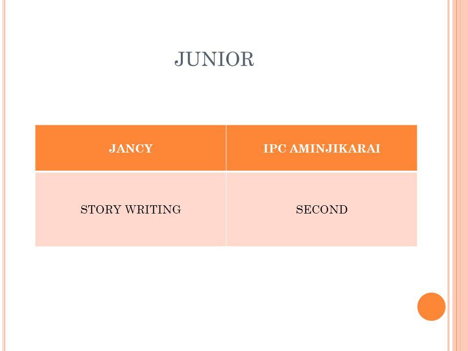 JUNIOR JANCYIPC AMINJIKARAI STORY WRITINGSECOND