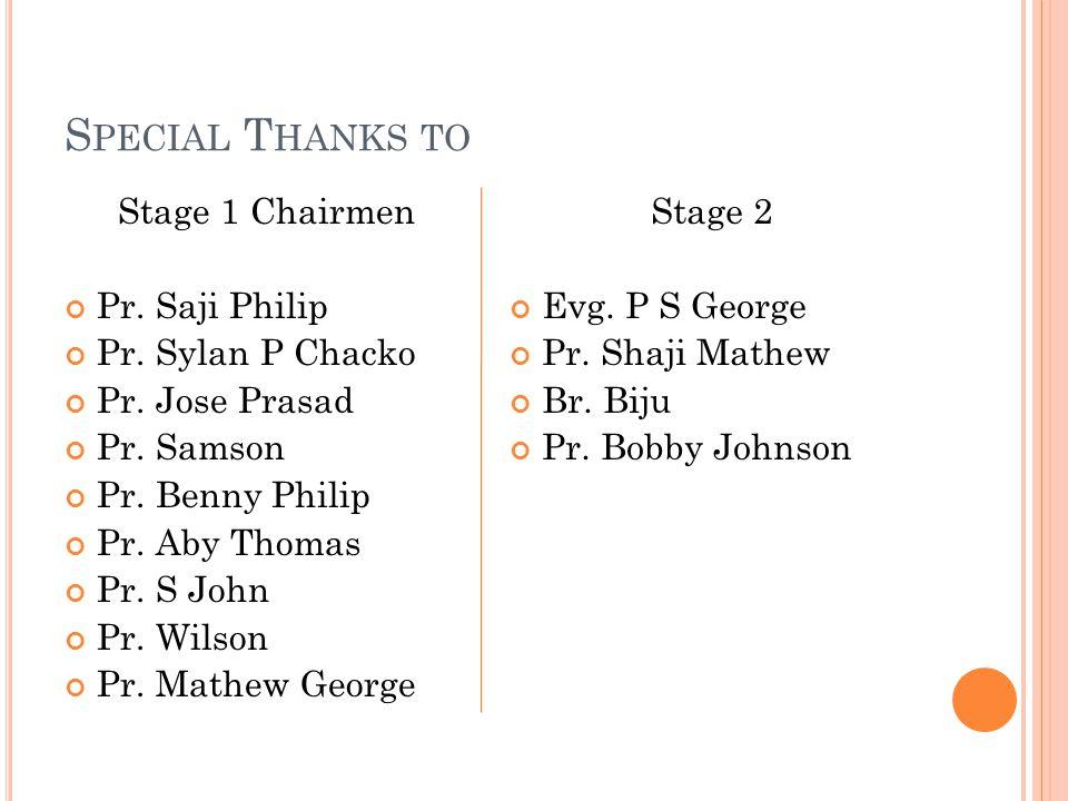 S PECIAL T HANKS TO Stage 1 Chairmen Pr. Saji Philip Pr.