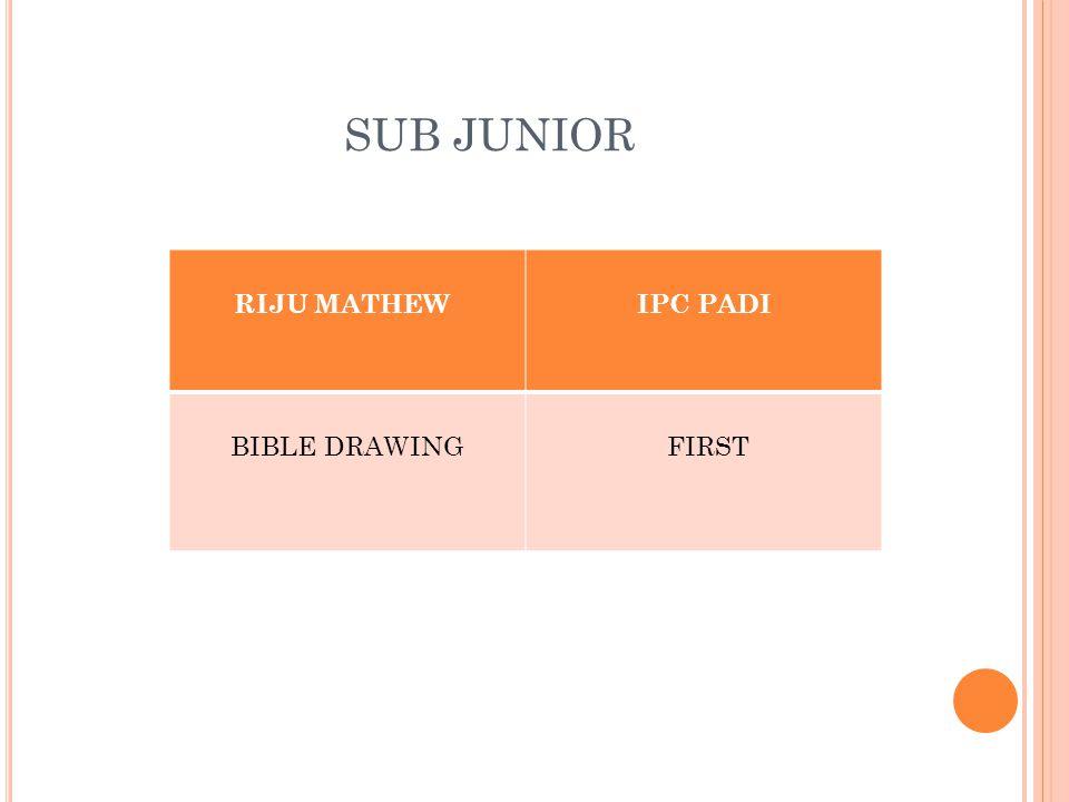 SUB JUNIOR RIJU MATHEWIPC PADI BIBLE DRAWING FIRST