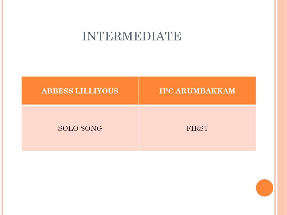 INTERMEDIATE ABBESS LILLIYOUSIPC ARUMBAKKAM SOLO SONGFIRST