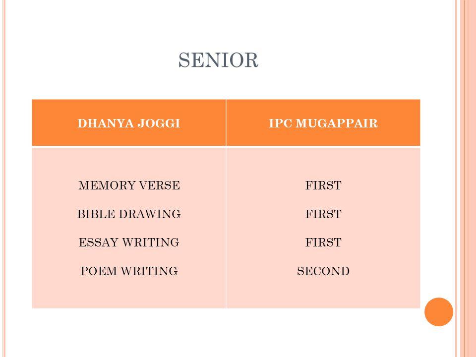 SENIOR DHANYA JOGGIIPC MUGAPPAIR MEMORY VERSE BIBLE DRAWING ESSAY WRITING POEM WRITING FIRST SECOND
