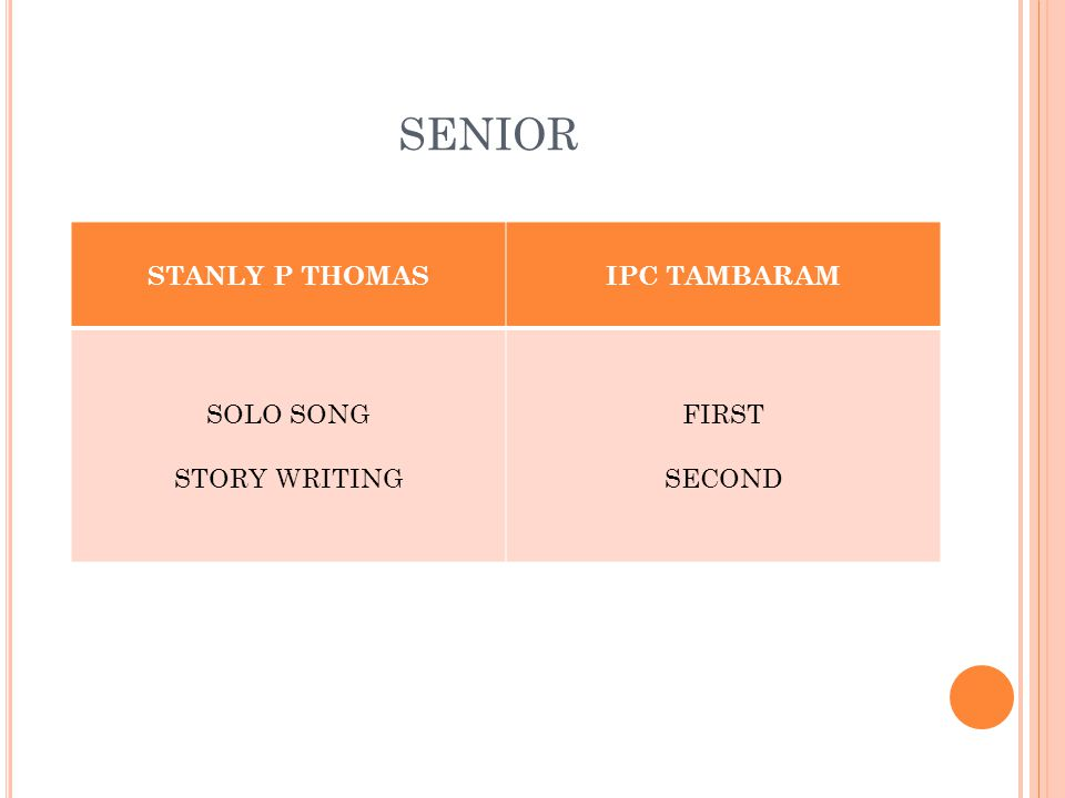 SENIOR STANLY P THOMASIPC TAMBARAM SOLO SONG STORY WRITING FIRST SECOND