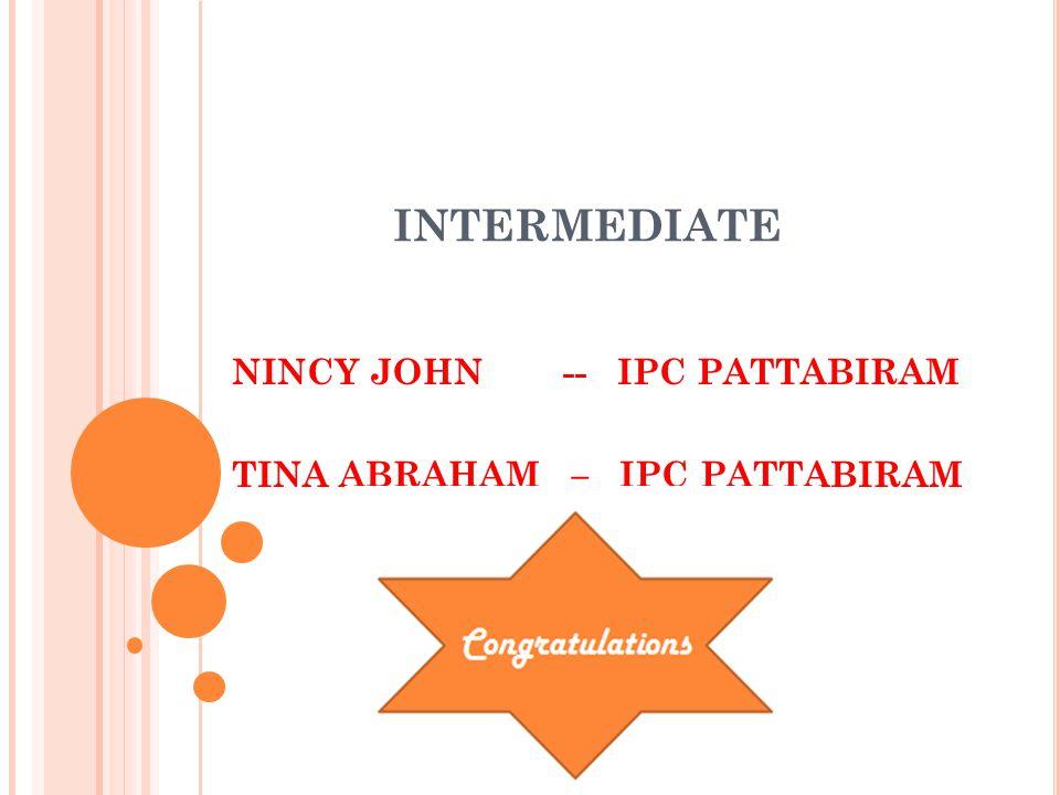 INTERMEDIATE NINCY JOHN -- IPC PATTABIRAM TINA ABRAHAM – IPC PATTABIRAM