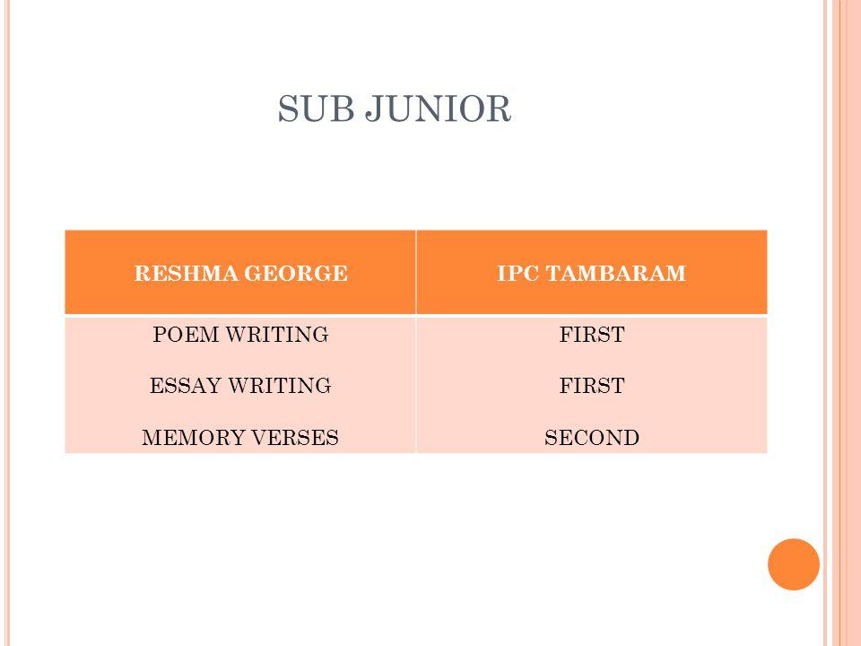 SUB JUNIOR RESHMA GEORGEIPC TAMBARAM POEM WRITING ESSAY WRITING MEMORY VERSES FIRST SECOND