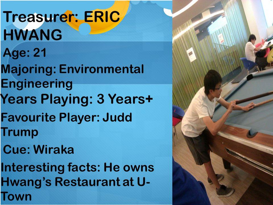 Treasurer: ERIC HWANG Age: 21 Years Playing: 3 Years+ Favourite Player: Judd Trump Cue: Wiraka Interesting facts: He owns Hwangs Restaurant at U- Town