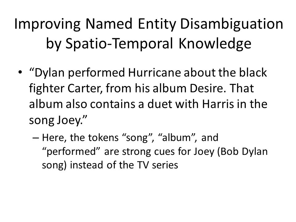 Improving Named Entity Disambiguation by Spatio-Temporal Knowledge Dylan performed Hurricane about the black fighter Carter, from his album Desire.