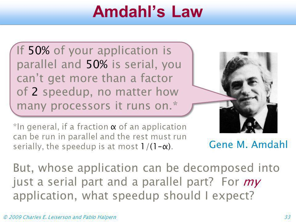 © 2009 Charles E.Leiserson and Pablo Halpern33 Amdahls Law Gene M.