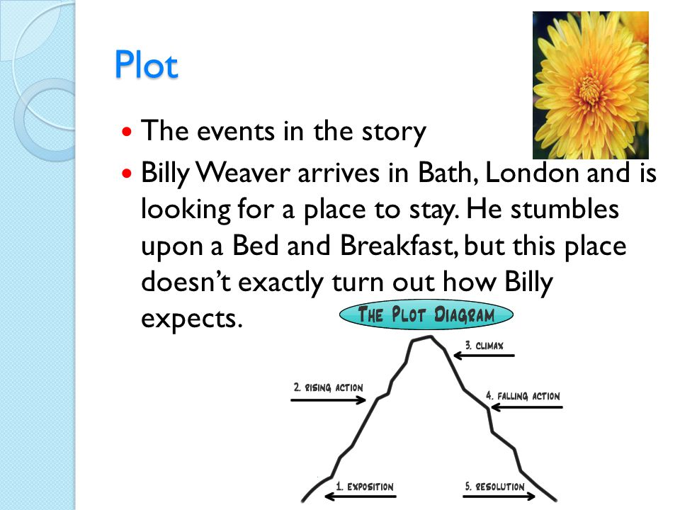 Plot The events in the story Billy Weaver arrives in Bath, London and is looking for a place to stay. He stumbles upon a Bed and Breakfast, but this p