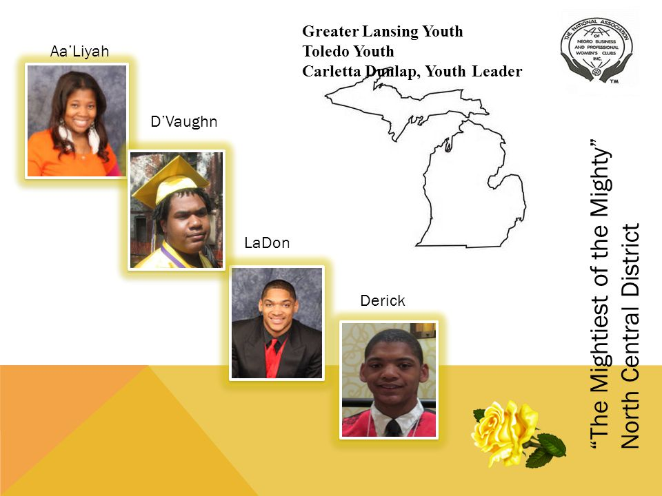 North Central District Hi, I am AaLiyah Nixon of the Greater Lansing Youth Club.