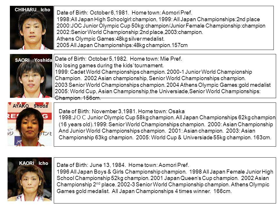 CHIHARU Icho SAORI Yoshida AYAKO Shoda KAORI Icho Date of Birth: October 6,1981. Home town: Aomori Pref. 1998:All Japan High Schoolgirl:champion, 1999