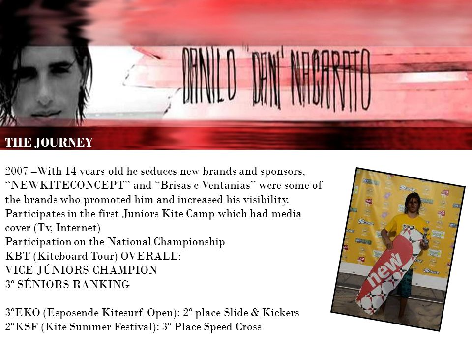 THE JOURNEY 2007 –With 14 years old he seduces new brands and sponsors, NEWKITECONCEPT and Brisas e Ventanias were some of the brands who promoted him and increased his visibility.