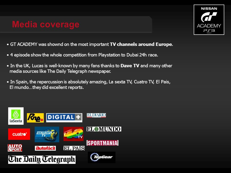 Media coverage GT ACADEMY was shownd on the most important TV channels around Europe.