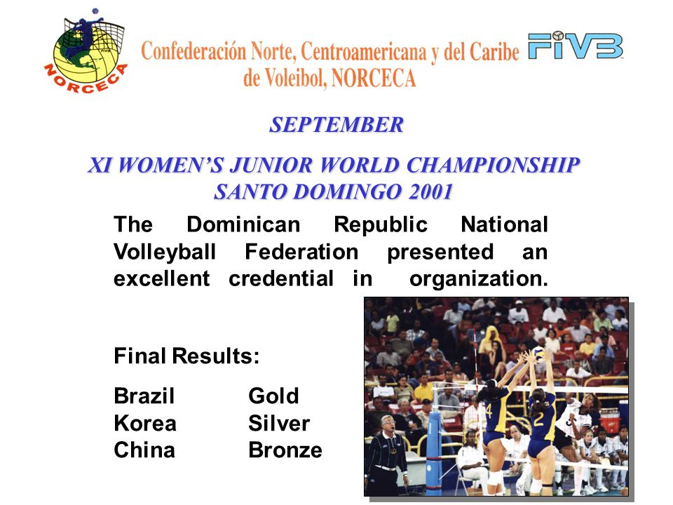 SEPTEMBER XI WOMENS JUNIOR WORLD CHAMPIONSHIP SANTO DOMINGO 2001