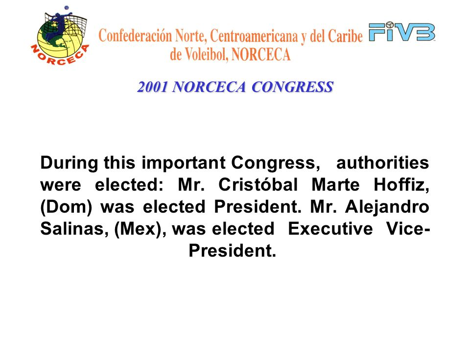 2001 NORCECA CONGRESS NORCECA is the representative body of FIVB.